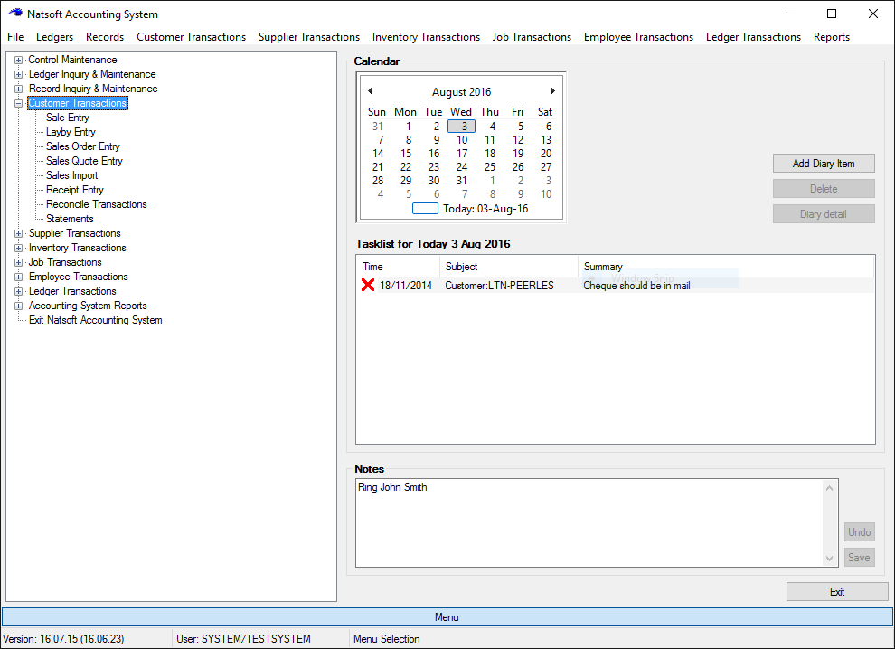 Natsoft Accountancy Software Front Screen