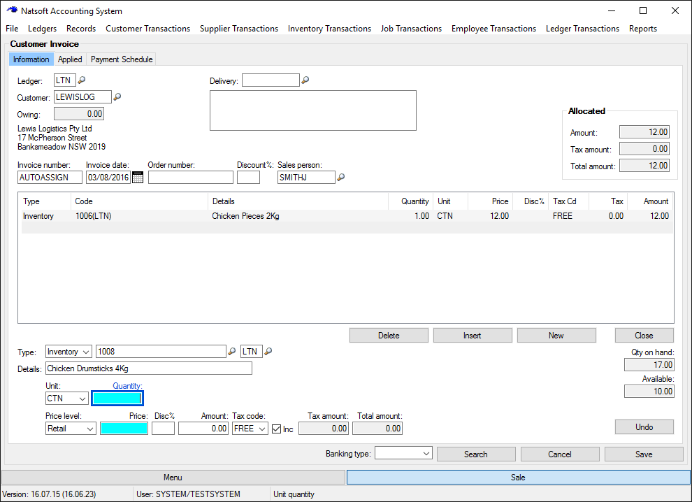 Natsoft Accountancy Software Invoicing Screen